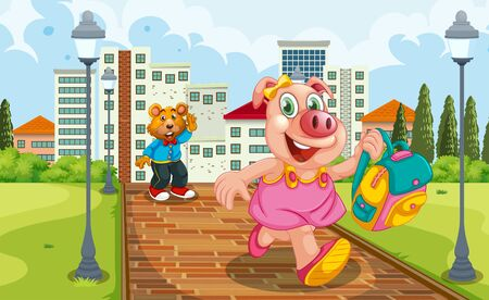 Pig running from school in afternoon illustration