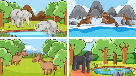 Background scenes of animals in the wild illustration Foto de archivo - 133653139