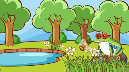 Scene with frog and bee in the park illustration