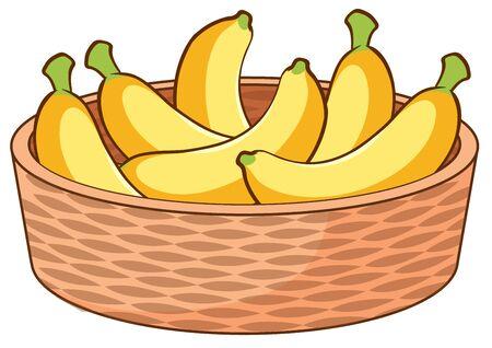 Basket of bananas on white background illustration