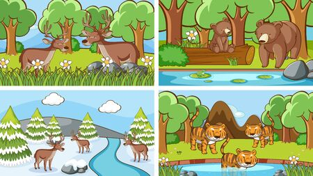 Background scenes of animals in the wild illustration Illustration