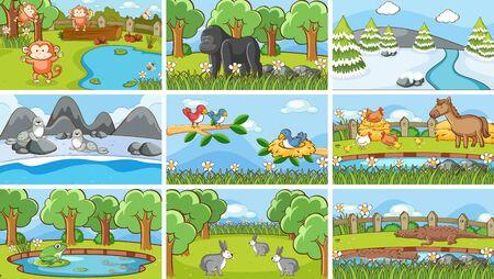 Background scenes of animals in the wild illustration Foto de archivo - 133653476