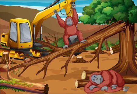 Background scene with monkey and deforestation illustration