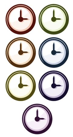 Clock in different colors illustration Иллюстрация