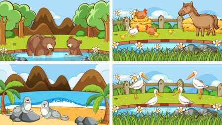 Background scenes of animals in the wild illustration Foto de archivo - 133653484