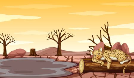 Background scene with tiger and drought illustration