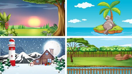 Four nature scenes at different time illustration