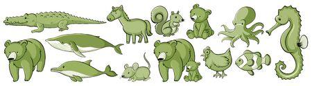 Many wild animals in set of green illustration Foto de archivo - 133653625