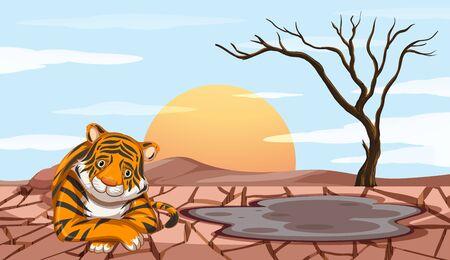 Deforestation scene with sad tiger illustration
