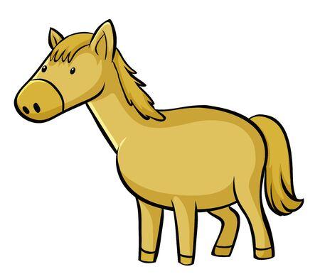 Yellow horse on white background illustration Foto de archivo - 133653723