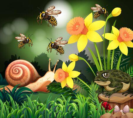 Background scene with nature theme illustration 矢量图像