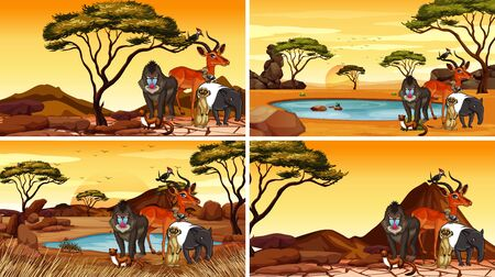 Scene with animals in the savanna fields illustration Vectores
