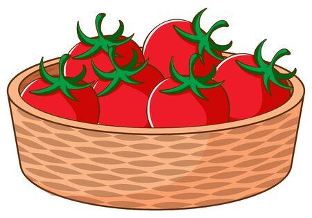 Basket of tomatoes on white background illustration Ilustração