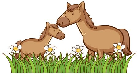 Isolated picture of two horses illustration Foto de archivo - 133653855