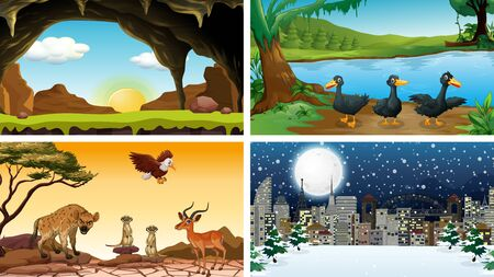 Four scenes with animals in the park illustration