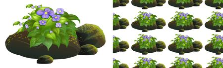Seamless background design with purple flowers on moss stones illustration