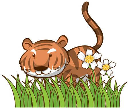 Isolated picture of cute tiger illustration 일러스트