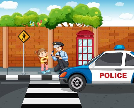 Policeman and lost girl in the city illustration Vetores