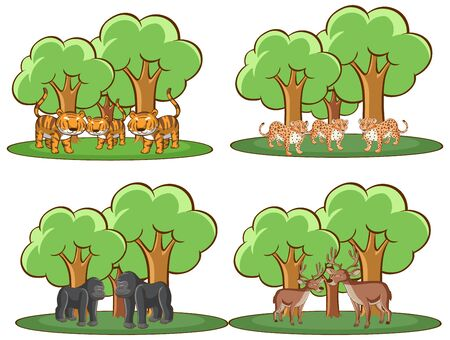 Four forest scenes with many animals illustration 일러스트