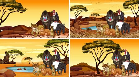Four scenes with animals in the field illustration