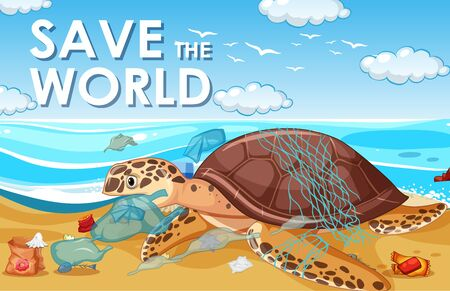 Pollution control scene with turtle and plastic on the beach illustration