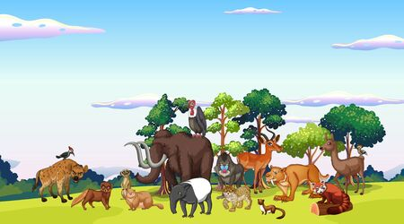 Scene with many animals in the park illustration