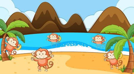 Scene with monkey playing on the beach illustration