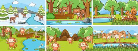 Background scenes of animals in the wild illustration 일러스트