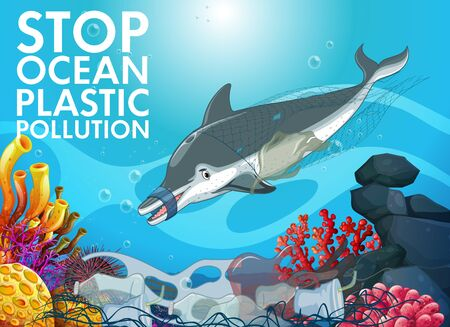 Poster design with dolphin and plastic bags in ocean illustration Ilustração