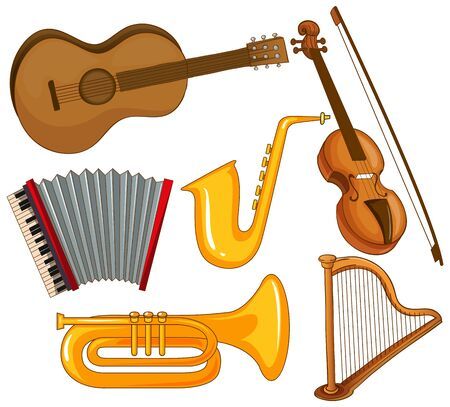 Isolated set of instruments on white background illustration Фото со стока - 133654235