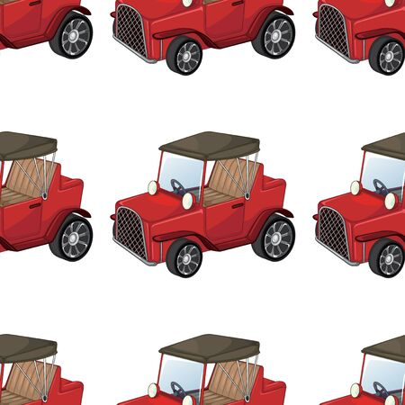 Seamless pattern tile cartoon with toy car illustration Çizim