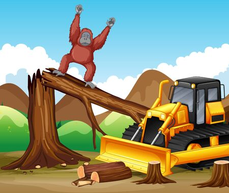 Deforestation scene with monkey and bulldozer illustration