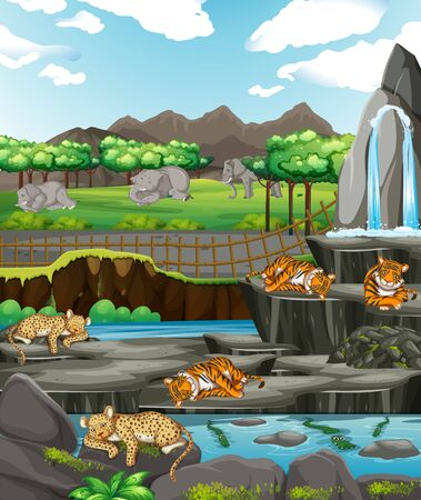 Scene with animals at the open zoo illustration