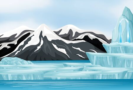 Nature scene with snow on the mountain illustration