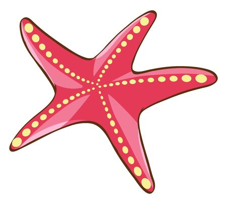 Red starfish on white background illustration