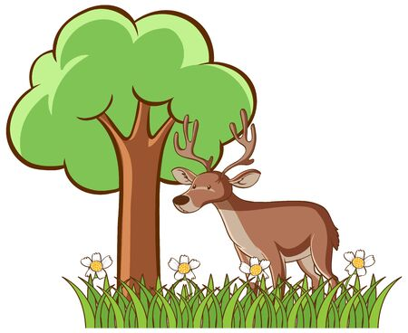 Isolated picture of deer in garden illustration
