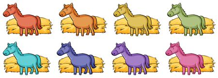 Isolated set of colorful horses illustration Foto de archivo - 133654311