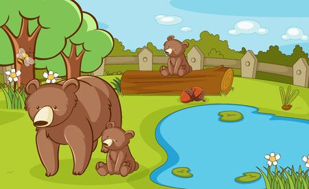 Scene with grizzly bears in the park illustration Illusztráció