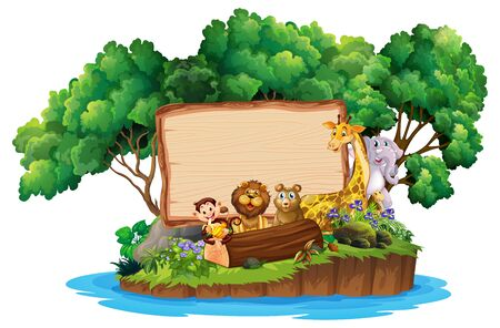 Border template design with cute animals on island illustration