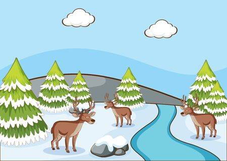 Scene with reindeers on the snow field illustration