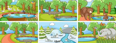 Background scenes of animals in the wild illustration Stock fotó - 133654322