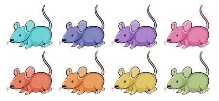 Isolated set of mouse in many color illustration Ilustração