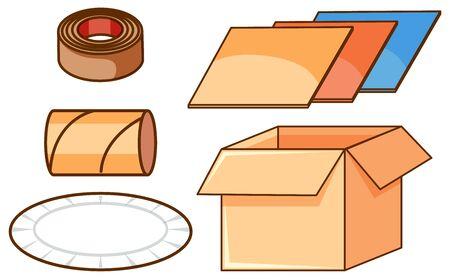 Isolated set of boxes and paper illustration Ilustração