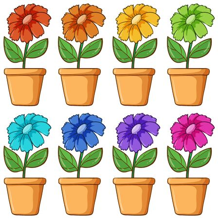 Isolated set of flower in different colors illustration