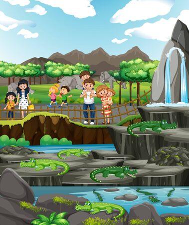 Scene with crocodiles and many children illustration
