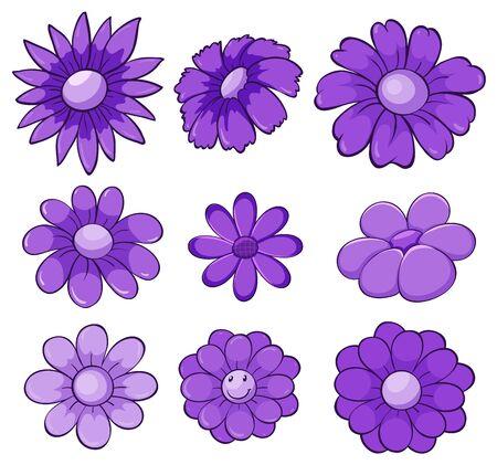 Isolated set of flowers in purple illustration Ilustração