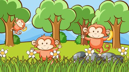 Scene with three monkeys in forest illustration