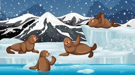 Scene with many seals on ice illustration Illusztráció