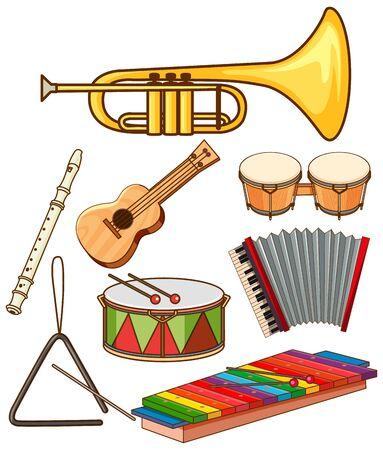 Isolated set of musical instruments illustration Illusztráció
