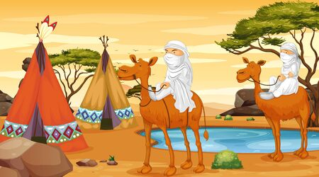Scene with people riding on camels illustration